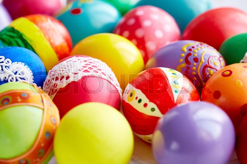 Stock image of 'Background of painted Easter eggs'