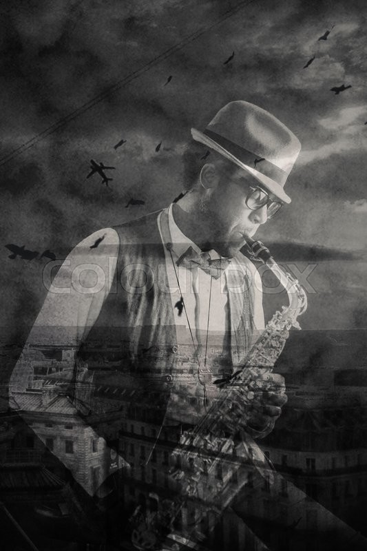Stock image of 'African-american jazzman playing saxophone and urban panorama with birds and plane in the sky'