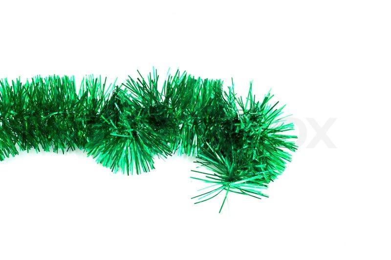 Green christmas tinsel garland stock photo colourbox