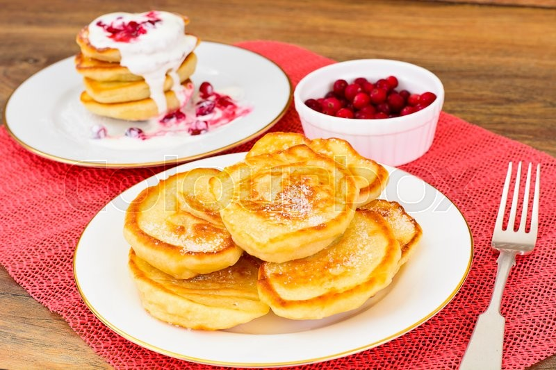 Stock image of 'Tasty Pancakes with Cranberry Stack Studio Photo '