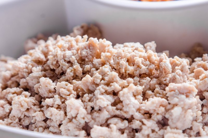 Stock image of 'Boiled minced pork in white plate'
