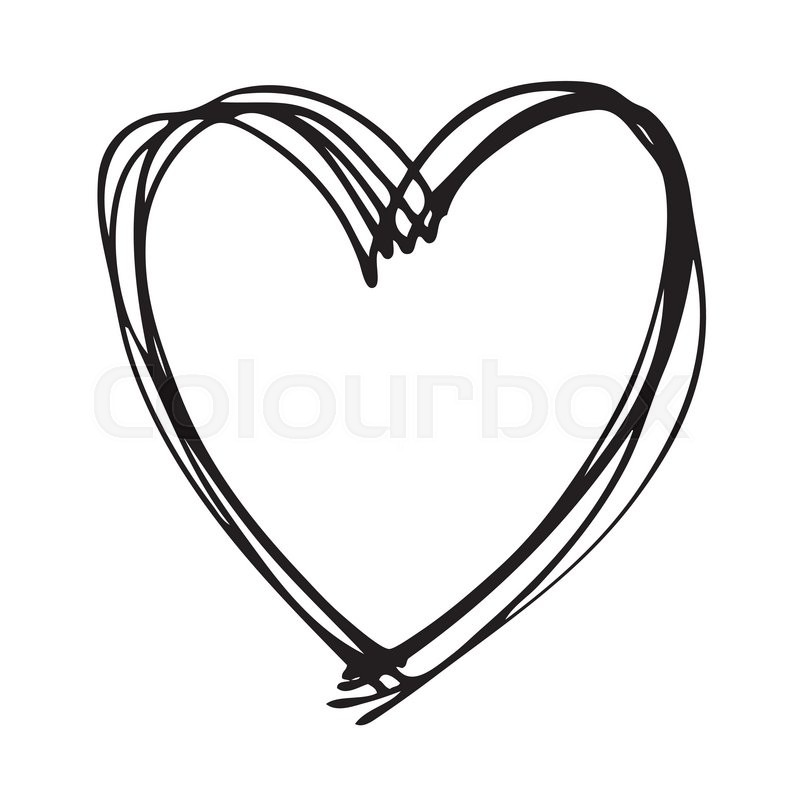 Doodle Hand Drawn Heart Shaped On White Background Stock Vector