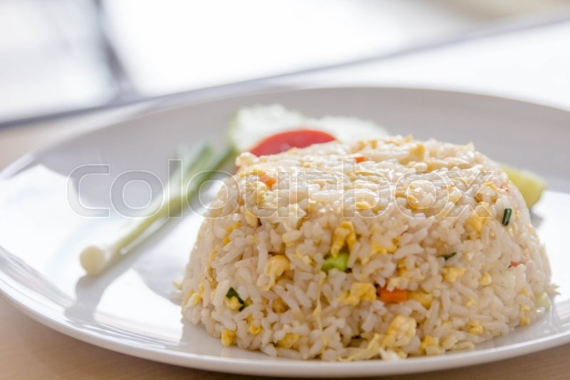 Stock image of 'close up fried rice in plate'