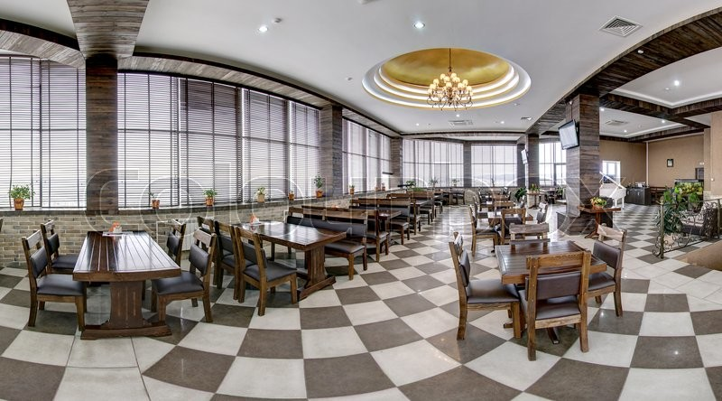 Stock image of 'Interior of a modern restaurant. Panoramic view. Russia.'