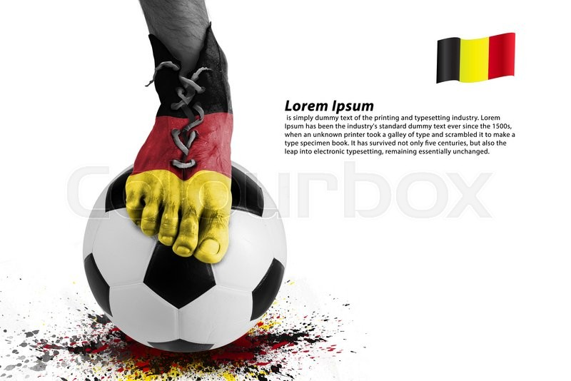 Stock image of 'Abstract image of soccer player ,colorful splash with sport ball on white background '
