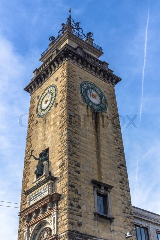 Stock image of 'Ancient clock tower in italy europe old stone and bell'
