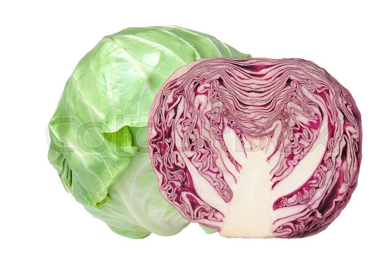 Stock image of 'tasty green and red cabbage isolated on white background'