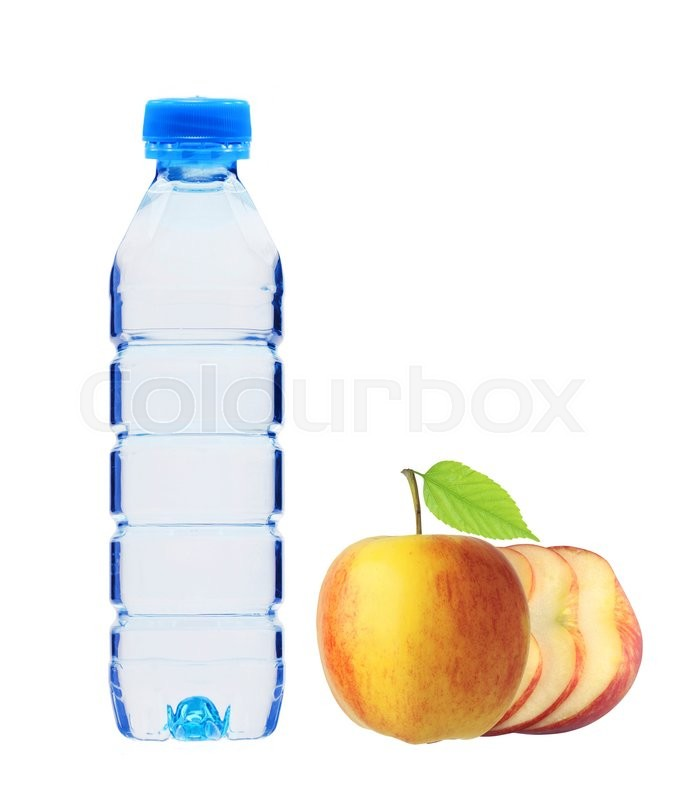 Stock image of 'Plastic bottle with water and apple with green leaf isolated on white'