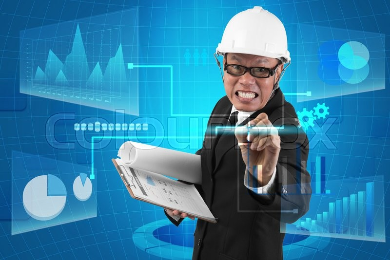 Stock image of 'Business person working with modern virtual technology - business concept'