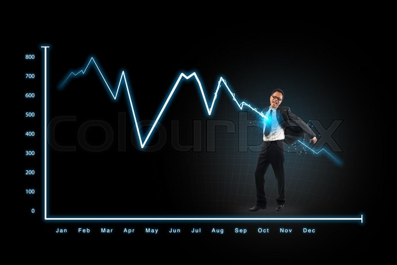 Stock image of 'Lightning graph attack businessman,concepts for business, finance, stock market and financial market news'