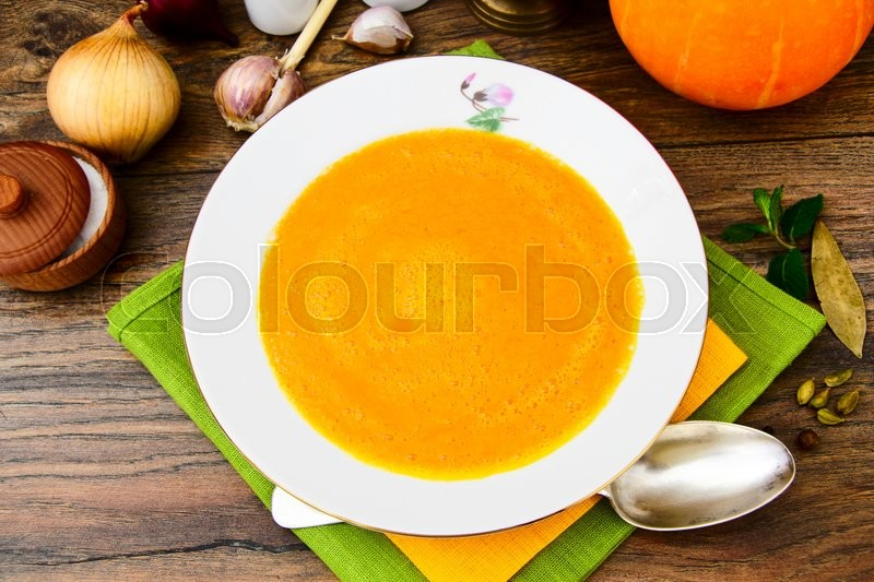 Stock image of 'Diet and Healthy Organic Food: Pumpkin Soup. Studio Photo'