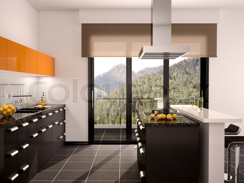 Stock image of '3d illustration of modern black and orange kitchen interior with a large window'