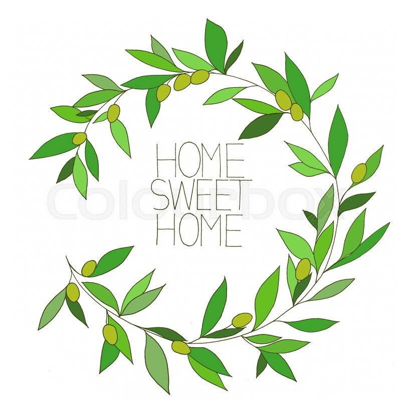 Stock image of 'Home sweet home, hand drawn inspirational floral color graphic, in Olive branch frame'