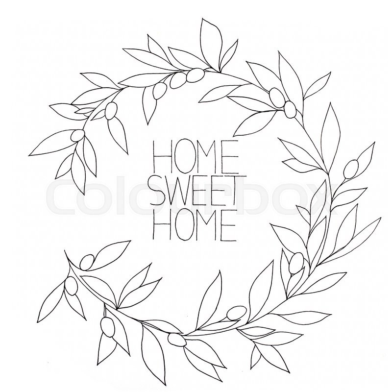 Stock image of 'Home sweet home, hand drawn inspirational floral graphic, in Olive branch frame'