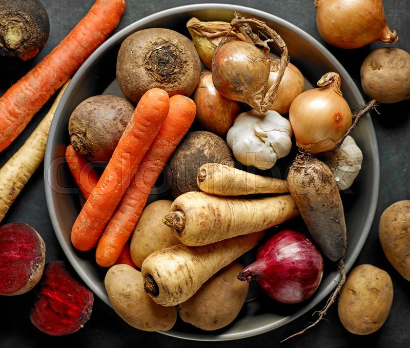 Stock image of 'bowl of various organic vegetables, top view'