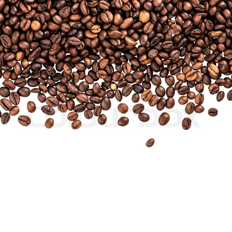 flying coffee beans  falling coffee beans isolated over