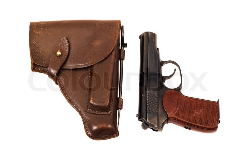 Stock image of 'Russian 9mm handgun and holster isolated on the white background'
