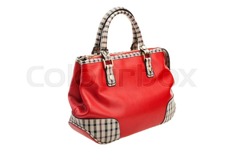 Stock image of 'New patterned red womens bag isolated on white background.'