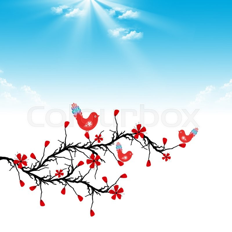 Stock image of 'Beautiful blossom cherry and birds on blue shky background'