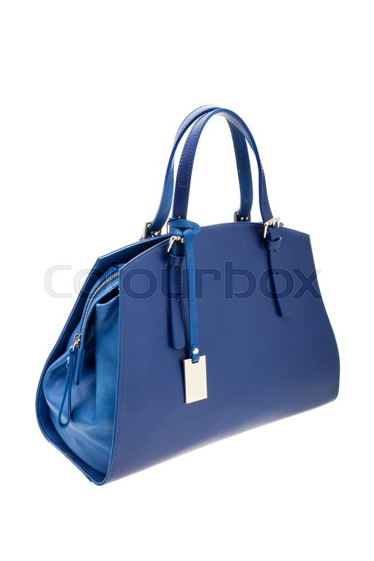 Stock image of 'New blue womens bag isolated on white background.'