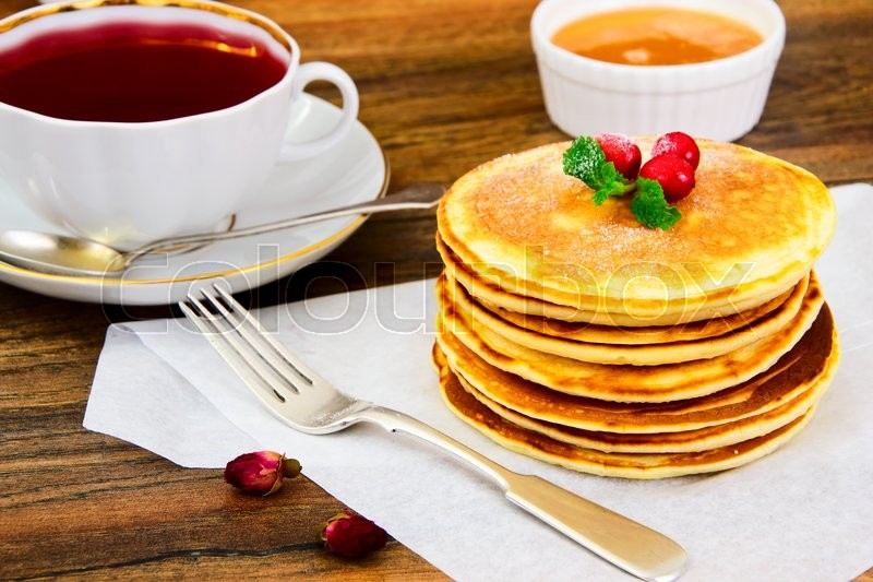 Stock image of 'Tasty Pancakes with Cranberry Stack Studio Photo'