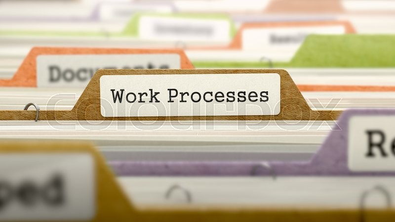 Stock image of 'Work Processes on Business Folder in Multicolor Card Index. Closeup View. Blurred Image.'