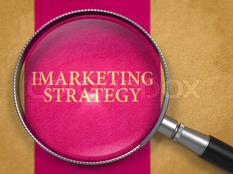 Stock image of 'IMarketing Strategy through Lens on Old Paper with Lilac Vertical Line Background.'