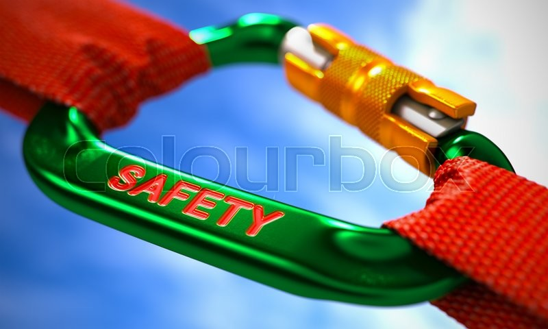 Stock image of 'Green Carabiner between Red Ropes on Sky Background, Symbolizing the Safety. Selective Focus.'