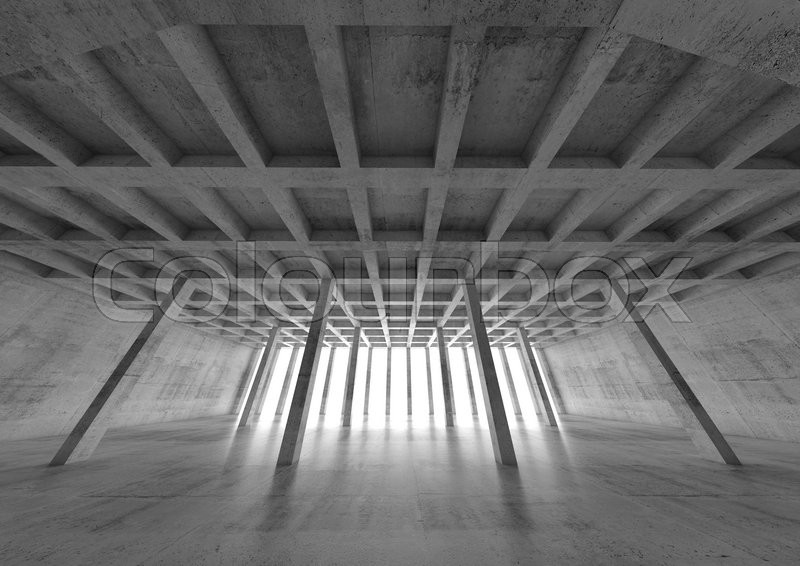 abstract architecture background  wide angle perspective view of empty concrete room  3d