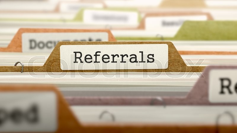 Stock image of 'File Folder Labeled as Referrals in Multicolor Archive. Closeup View. Blurred Image.'
