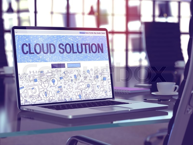 Stock image of 'Cloud Solution Concept - Closeup on Landing Page of Laptop Screen in Modern Office Workplace. Toned Image with Selective Focus.'