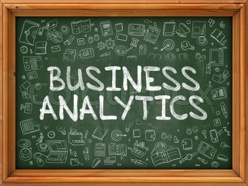 Stock image of 'Hand Drawn Business Analytics on Green Chalkboard. Hand drawn Doodle Icons Around Chalkboard. Modern Illustration with Line Style.'