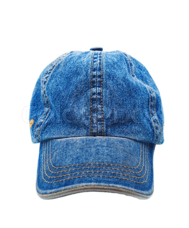 Stock image of 'Jeans working peaked cap. Front view. Isolated on a white background.'