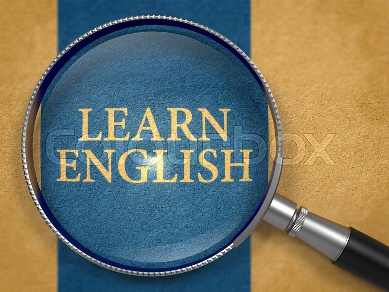 Stock image of 'Learn English through Magnifying Glass on Old Paper with Dark Blue Vertical Line Background.'