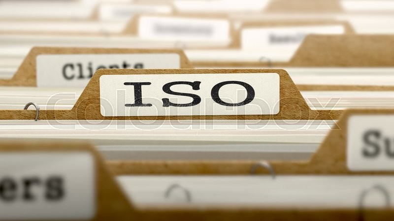 Stock image of 'ISO Concept. Word on Folder Register of Card Index. Selective Focus.'