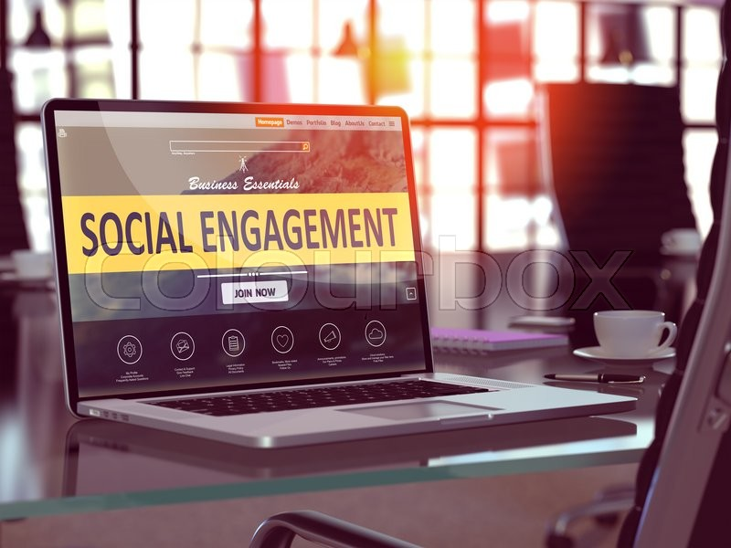Stock image of 'Social Engagement Concept. Closeup Landing Page on Laptop Screen  on background of Comfortable Working Place in Modern Office. Blurred, Toned Image.'