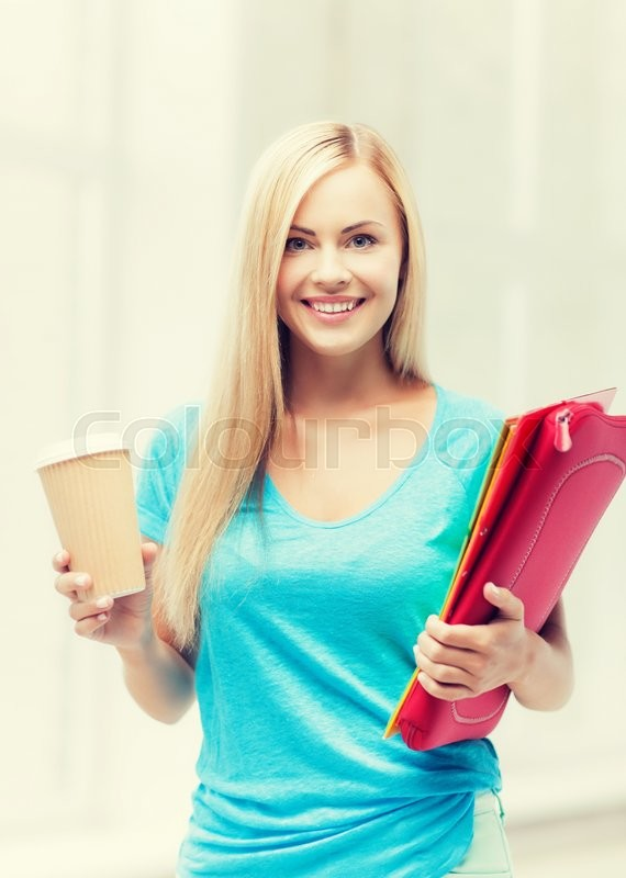 Stock image of 'bright picture of smiling student with folders and cup of coffee'