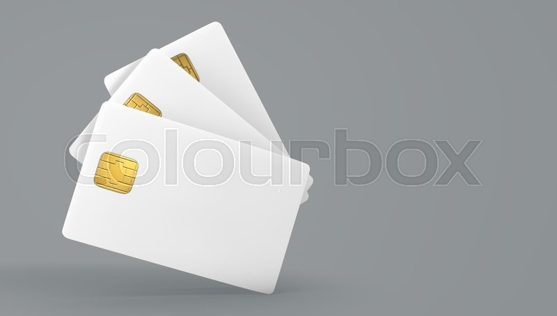 Stock image of 'White credit card on gray background'