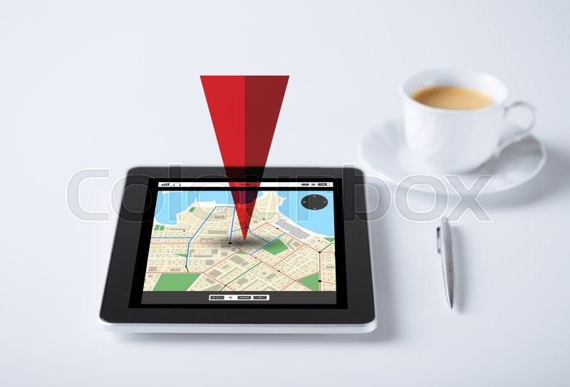 Stock image of 'business, navigation, location and technology concept - tablet pc computer with gps navigator map and cup of coffee'