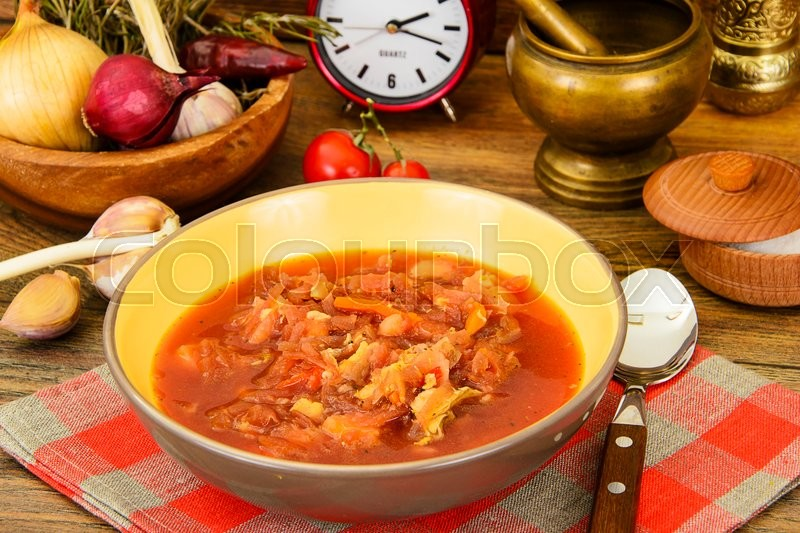 Stock image of 'Healthy Food: Soup with Beets and Vegetables. Studio Photo'