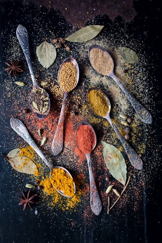 Stock image of 'Dry powder of seasonings. Asian colorful aroma condiment.'
