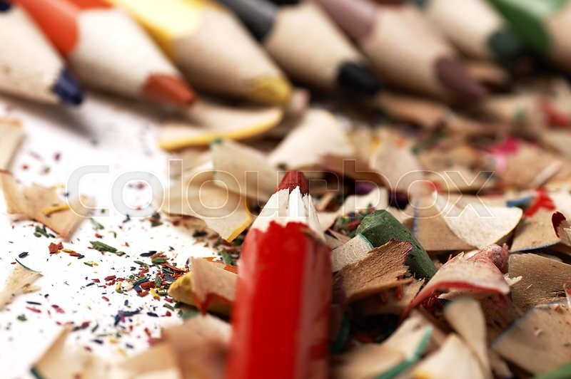 Stock image of 'Creative mess on the table cartoonist. Wooden crayons.'