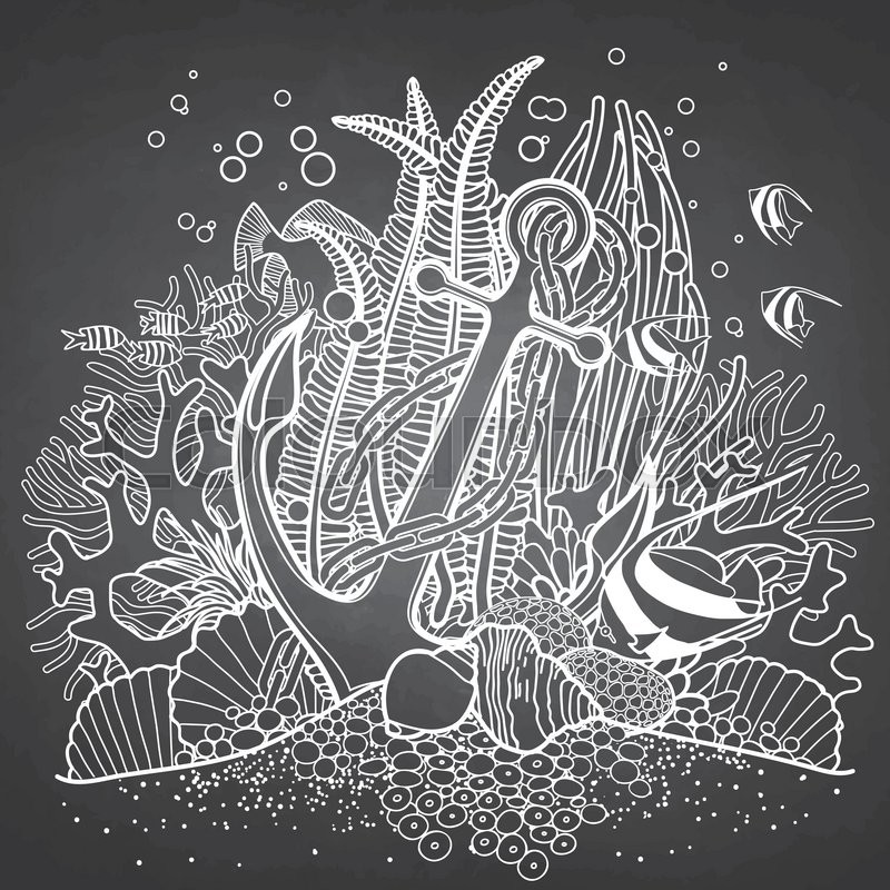 Anchor And Coral Reef Drawn In Line Art Style Ocean Fish