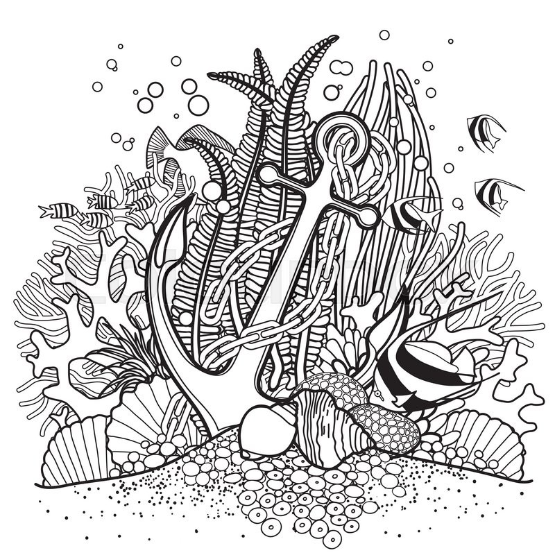 Anchor and coral reef drawn in line art style ocean fish for Coloring pages of coral reefs