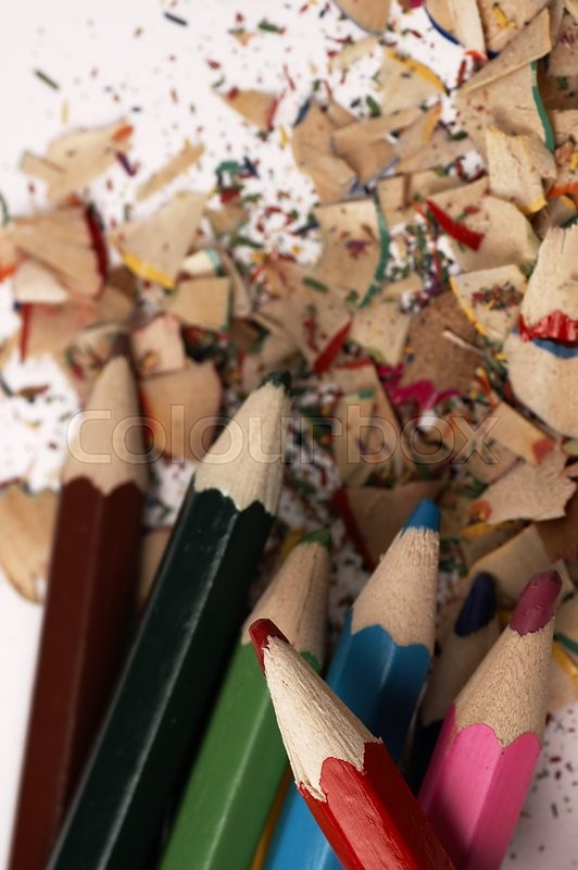 Stock image of 'Colorful wooden pencils. Artistic mess on the table.'