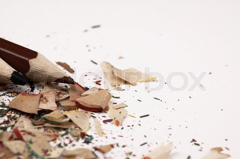 Stock image of 'Artistic mess on the table.  Sharpening pencils.'