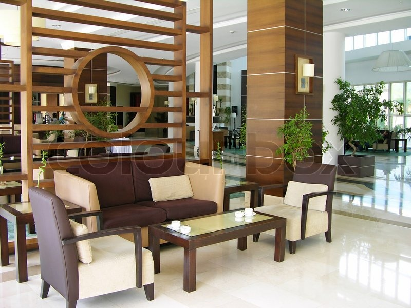 Modern Hotel Lobby, Stock Photo