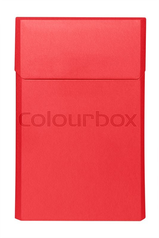Stock image of 'Closed blank red cigarettes pack box isolated on white. Clipping path included. Ready for your design.'