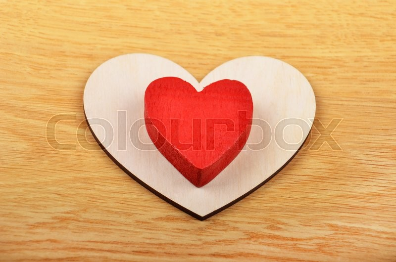 Stock image of 'Red heart on wooden background, card for Valentine's day'