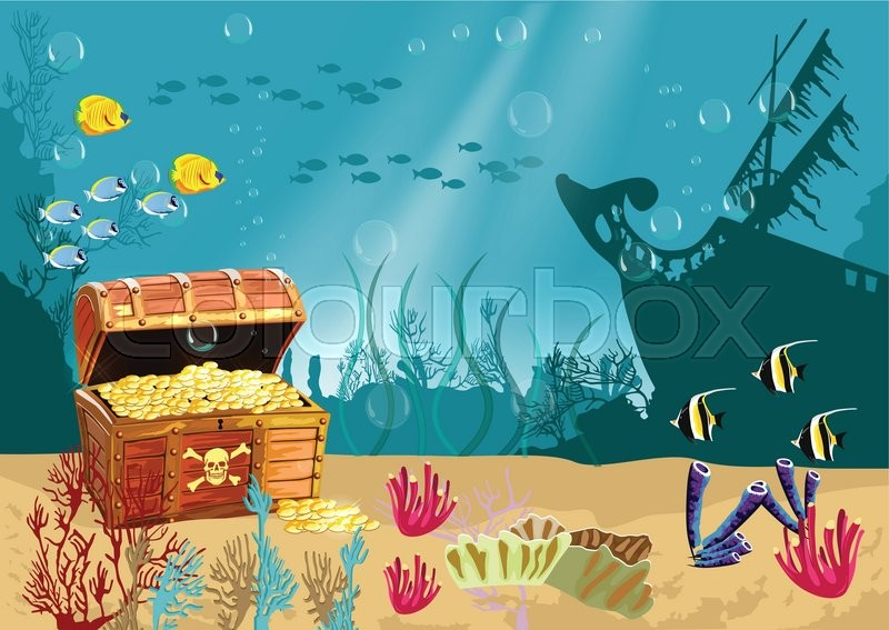 Underwater scenery with an open ... | Stock vector | Colourbox